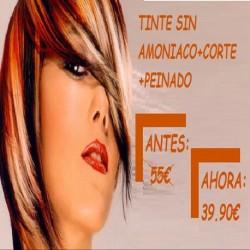 TINTE SIN AMONIACO + TRATAMIENTO REPARADOR DE KERATINA + CORTE + PEINADO